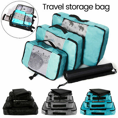 4x Travel Organiser Packing Bag  Pouches Storage Cubes Clothes Suitcase Luggage