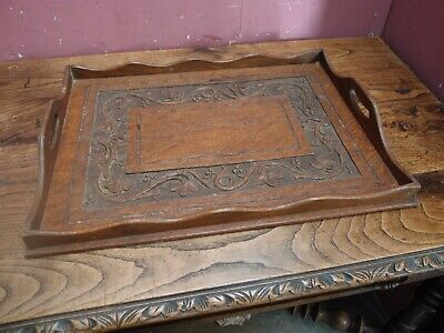 Large Antique Carved Oak Butler's Tray