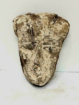 Ancient Egyptian Mummy Wood Mask c.664-332 BC. Size 11 1/2 inches