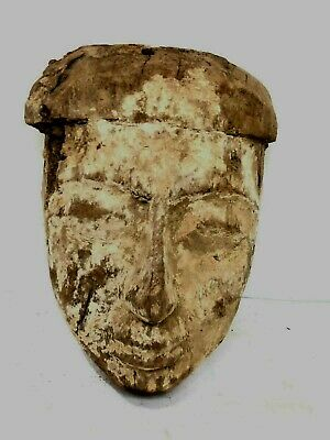 Ancient Egyptian Mummy Wood Mask c.664-332 BC. Size 10 inches high
