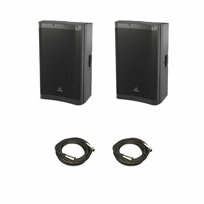 "2Pack Behringer DR115DSP Active 1400W 15"" Speaker System w/ DSP & XLR Cables"