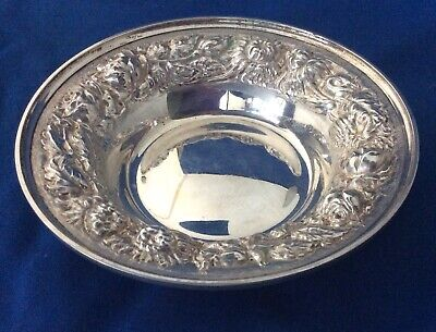 Stieff Repousse Rose Sterling Silver Bowl Or Wine Bottle Coaster