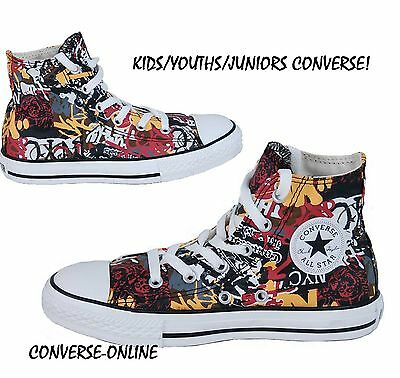 KIDS Boys Girls CONVERSE All Star NYC GRAFFITI HIGH TOP Trainers Boot SIZE UK 12