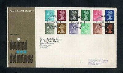 GB. 1971 New Decimal Definitives FDC. Postal Strike. Postage combined in UK.