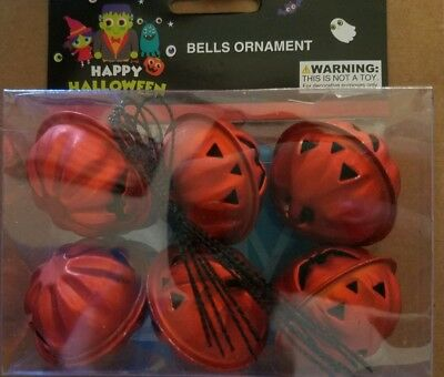 NIP Halloween Pumpkin Bell Mini Metal Tree Ornaments Decoration Set of 6 Orange