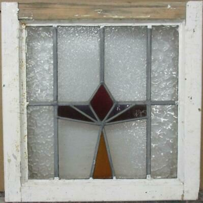 """OLD ENGLISH LEADED STAINED GLASS WINDOW Pretty Geometric Design 19"""" x 19"""""""