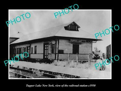 OLD 8x6 HISTORIC PHOTO OF TUPPER LAKE NEW YORK THE RAILROAD STATION c1950