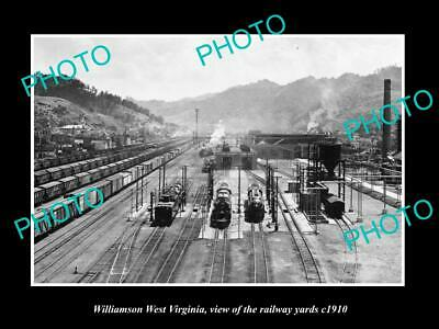 OLD POSTCARD SIZE PHOTO OF WILLIAMSON WEST VIRGINIA THE RAILWAY YARDS c1910