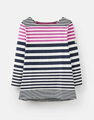 Joules 208566 3/4 Length Sleeve Jersey Striped Top in NAVY AND PINK STRIPE