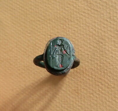 Ancient Roman Bronze Bloodstone Intaglio Ring Goddess Ceres