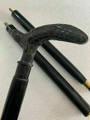 Antique Brass Crocodile Head Handle Handmade Style Wooden Walking Stick Cane