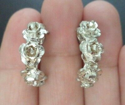 "Vintage Estate Signed 925 Sterling Silver Rose Flower 7/8"" Post Earrings! G883J"