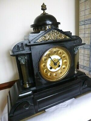 Antique French Slate Mantle Clock A fine Black marble/Brass Roman style Pre 1900