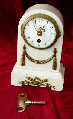 Nice Small French White Marble & Ormolu Mantle Clock