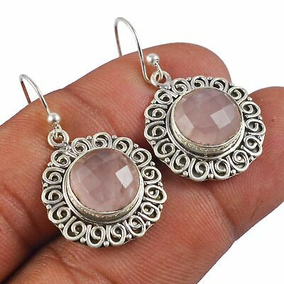 Faceted-Rose Quartz Solid 925 Sterling Silver Earring Jewelry AE-4567