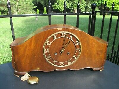 Vintage Antique Junghans Mahogany Mantle Clock Works 3 Bar Chime Germany no Key