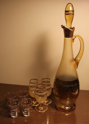 VTG Venetian Amber Gold Frosted MCM Glass decanter cordial glasses set barware!!