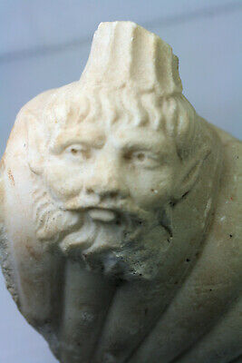 Marble fragment with bearded head - possibly Roman or Greek