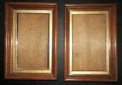 Antique EASTLAKE Walnut Wood Small RECTANGULAR Frames 5 x 8 1/4 in. fit c1890s