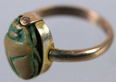 Scarab set in possibly gold ring - no hallmarks