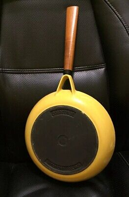 Vintage Colorcast Cast Iron no 10 Yellow Enamel Frying Pan Skillet Waterford