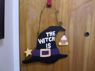Halloween Witch is In/Out Hat Door Hanging Wood