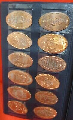 cool ELONGATED / PRESSED PENNY COIN COLLECTOR BOOK ALBUM w/ 14 COINS ~ superb!