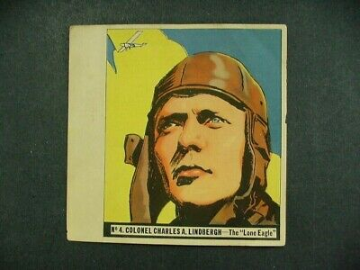 1936 History Of Aviation Series  Goudey Gum Co. Card - #4 Charles A. Lindbergh