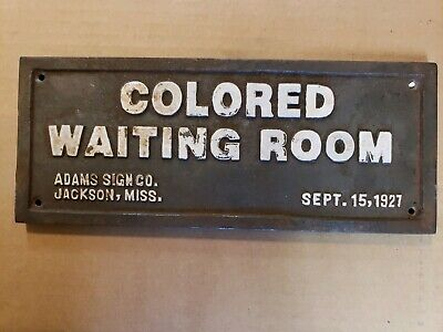 Vintage Black Americana Cast Iron: Colored Waiting Room 1927 Segregation Sign