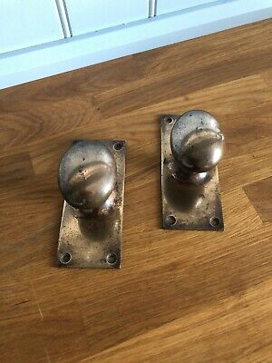 2 Large Antique Reclaimed Goose Egg Oval Brass Door Knob Pull Handles