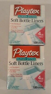 Playtex Nurse System Soft Bottle Liners 2 Boxs 100 Liners In Each Box