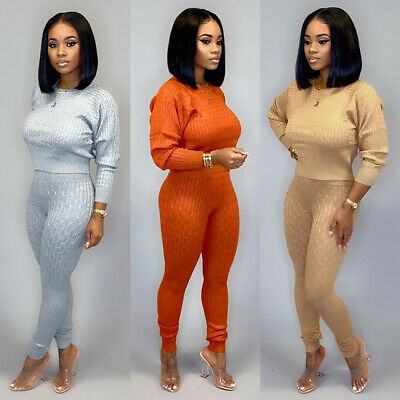 Casual Women's Sweater Solid Color Long Sleeve Round Neck Long Set Two Piece Set