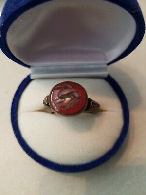 ROMAN PERIOD SOLID SILVER RING  w/ RED CARNELIAN *Antelope* INTAGLIO