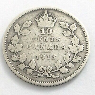 1913 Canada 10 Ten Cent Silver Dime Canadian Circulated George V Coin L534