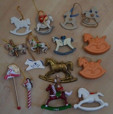 Lot Vintage ROCKING HORSE CAROUSEL PONY Christmas Ornaments Metal Ceramic Clay+