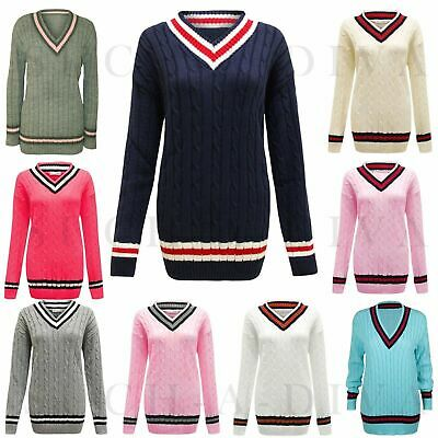 New Style Womens Ladies Cable Knitted V Neck Cable Cricket Jumper Plus