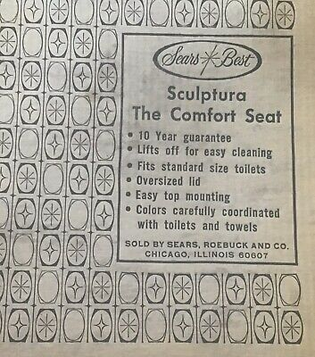 SEARS SCULPTURA VINTAGE TOILET SEAT MINT GREEN UNIVERSAL RUNDLE 1960s 1970s NOS