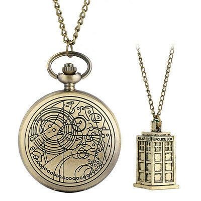 Bronze/Silver Doctor Who Unisex Quartz Pocket Watches Police Box Necklace Chain