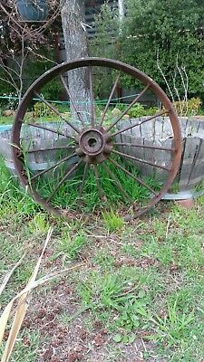Huge Extra Large  Steel Wagon Wheel Antique   Garden