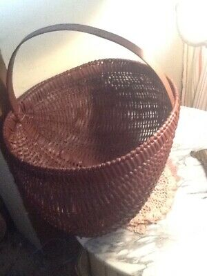 Antique Vintage Split Buttocks Basket Painted /Gathering ~Wooden/Country Red