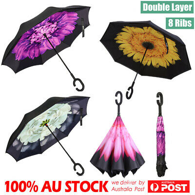 Windproof Upside Down Reverse Umbrella C Handle Double Layer Inside-Out Inverted