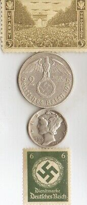 *antique *silver(.900%,+.625%)-WW2-*us and *german  SILVER EAGLE coins/stamps