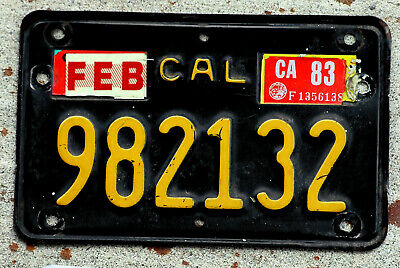 1963 Yellow on Black California MOTORCYCLE License Plate with a 1983 Sticker