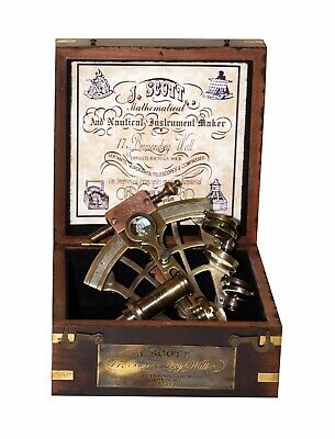 "Antique nautical solid brass j scott london 4"" sextant with wooden box gift item"