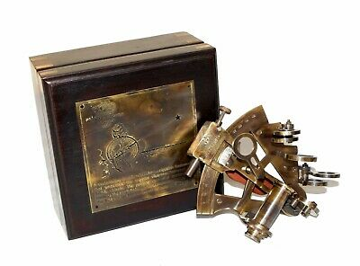 Antique nautical brass astrolabe ventura germany sextant with wooden box gift
