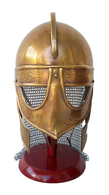Viking deluxe chain mail helmet medieval reproduction helmet + liner with Stand