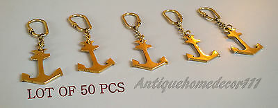 Brass Vintage Antique Marine Nautical Anchor Key Chain Lot Of 50 Pcs Best Gift..