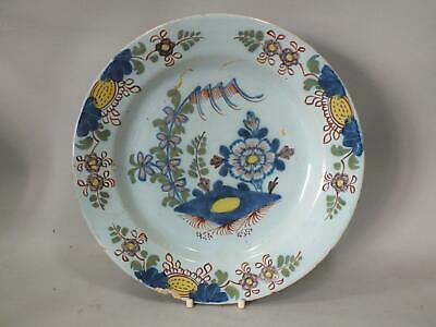 An English Polychrome Delft Plate With Flowers  18Th Century