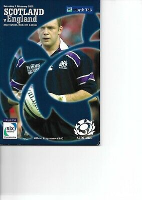 Scotland V England 2/2/2002 Six Nations Rugby Match Programme And Ticket