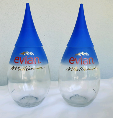 Evian Millenium Glass Water Bottle
